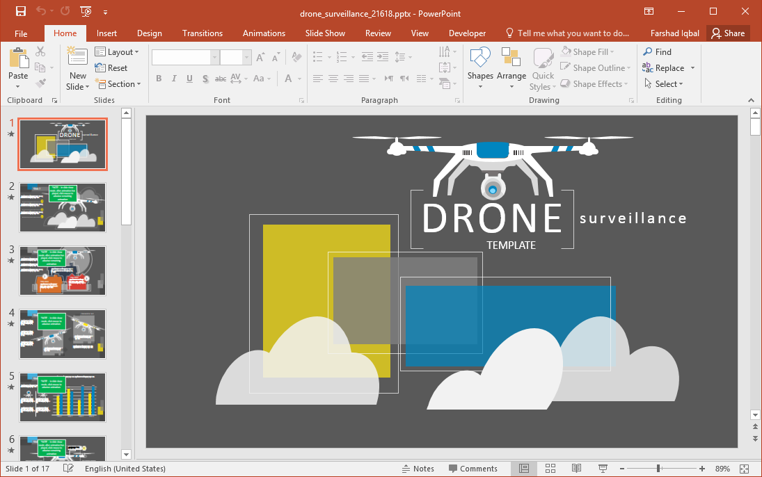 Animated Drone Surveillance PowerPoint Template