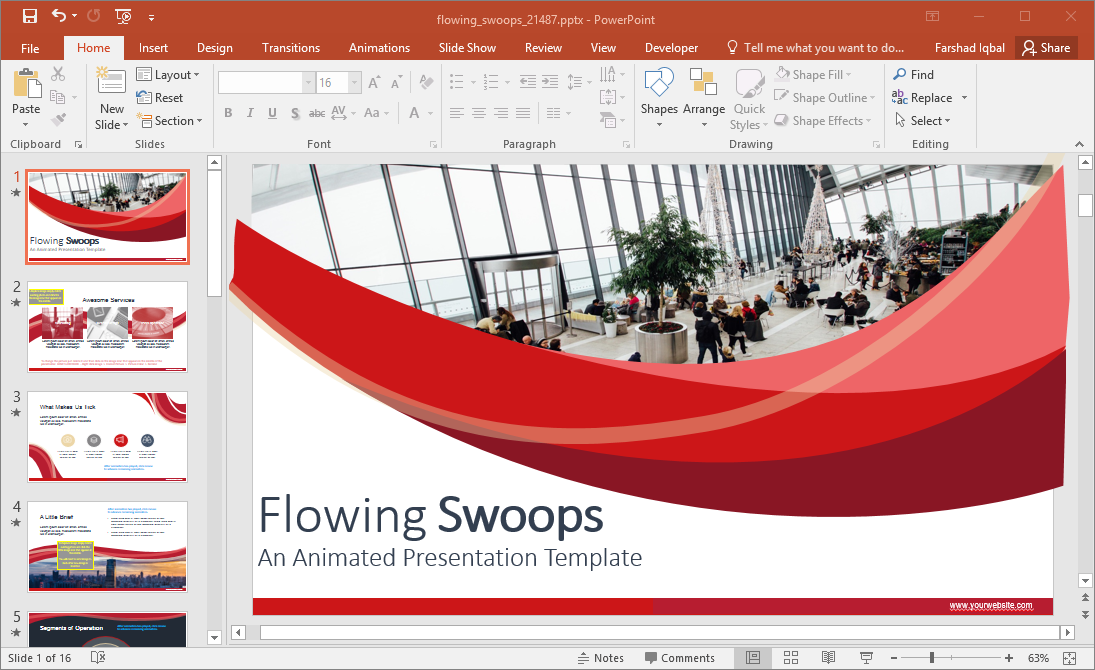 Animated Flowing Swoops PowerPoint Template