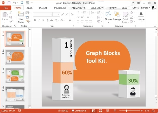 Animated Graph Blocks Template for PowerPoint