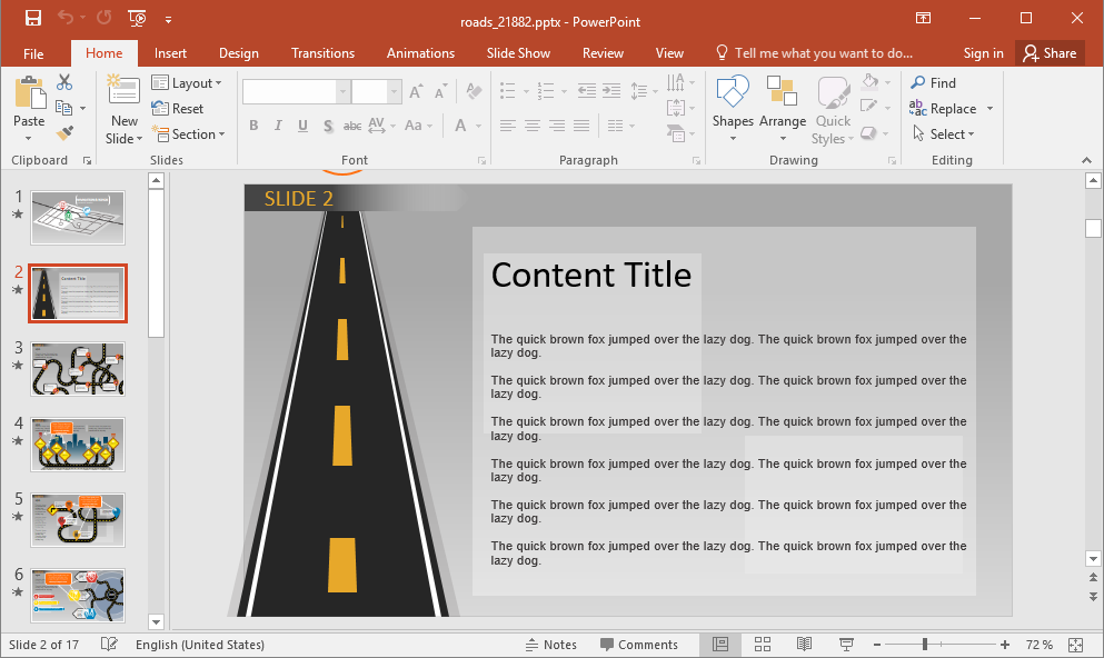 Animated Navigation PowerPoint Template with Content Slide
