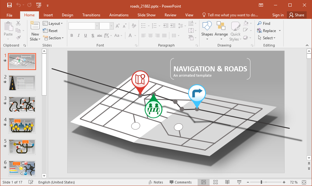Animated Navigation PowerPoint Template