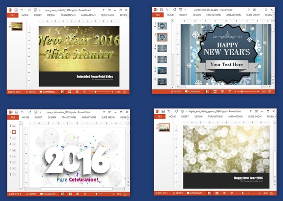 Animated New Year 2016 PowerPoint templates