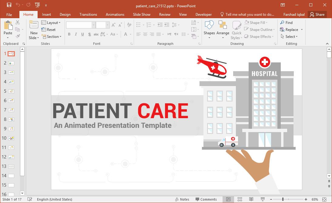 Animated Patient Care PowerPoint Template