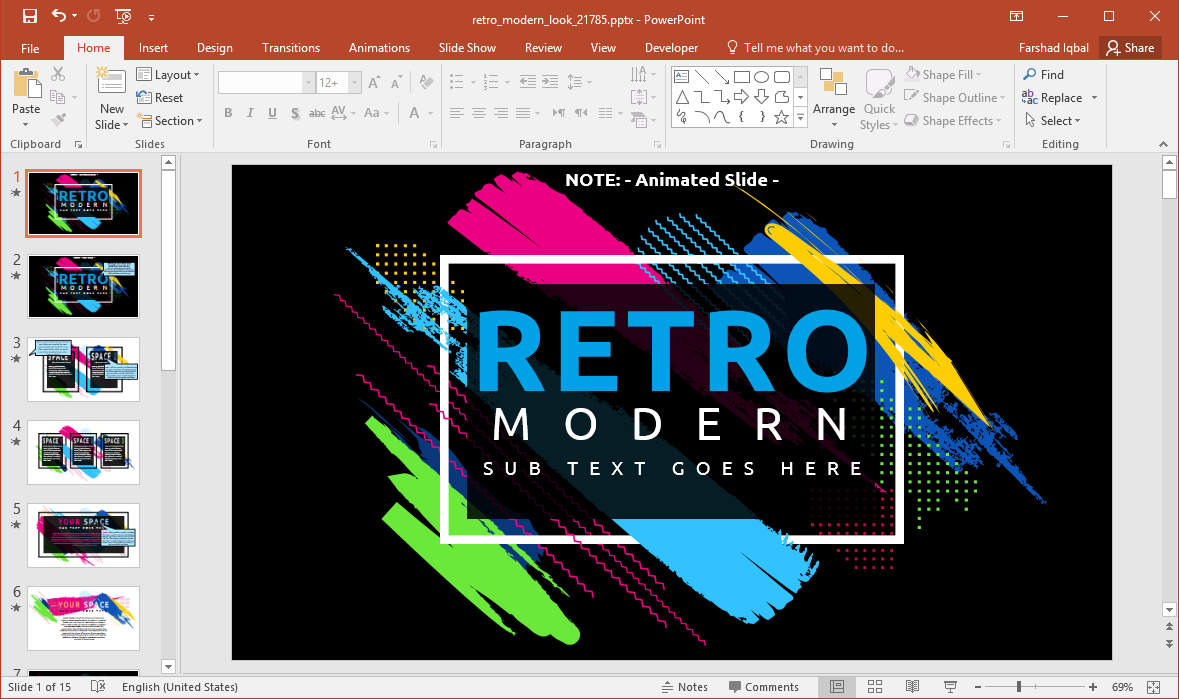 Animated Retro Modern Look PowerPoint Template