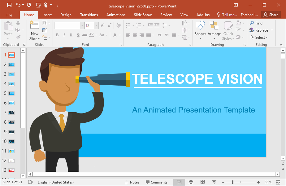Animated Telescope Vision PowerPoint Template