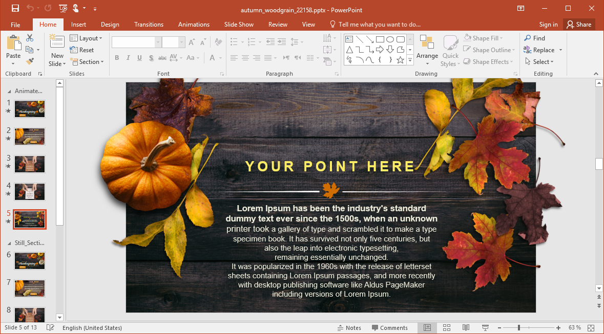 Animated Thanksgiving Themed PowerPoint Template