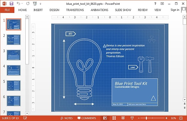 Animated blueprint template for PowerPoint