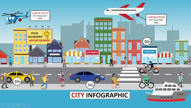 Animated city PowerPoint template