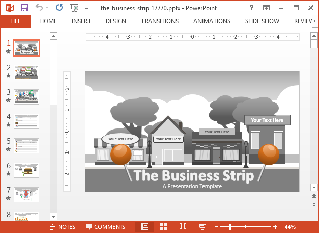 Animated downtown business strip PowerPoint template