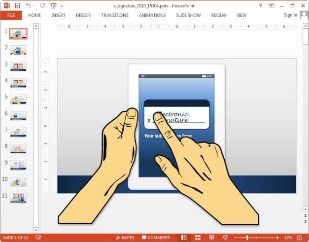 Animated electronic signature template for PowerPoint