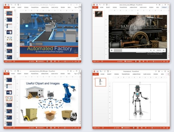 Animated factory PowerPoint templates