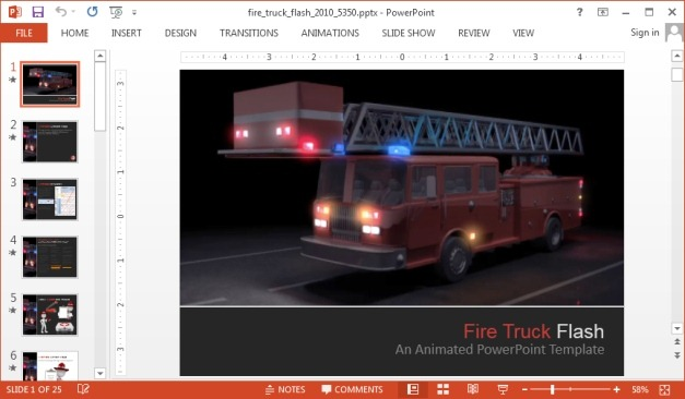 Animated fire truck powerpoint template