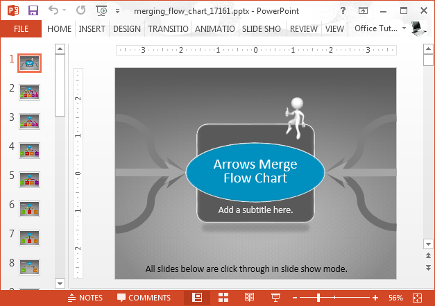 Animated flow chart PowerPoint template