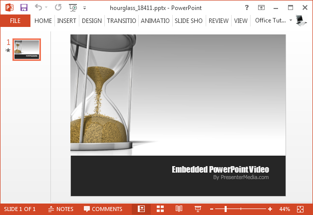 Animated hourglass video background for PowerPoint