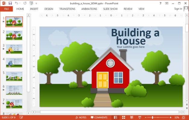 Animated house PowerPoint template