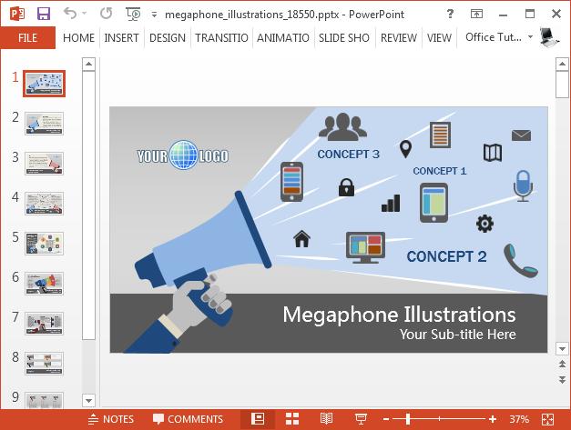Animated loudspeaker PowerPoint template