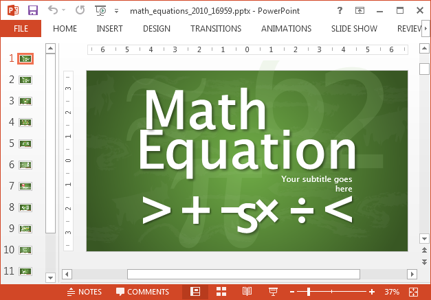 Animated math equations template for PowerPoint