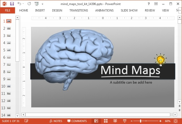 Animated mind map template for PowerPoint