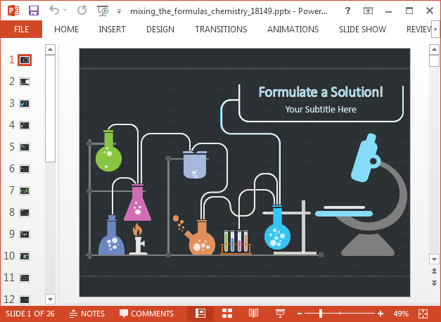 Animated mixing the formulas PowerPoint template