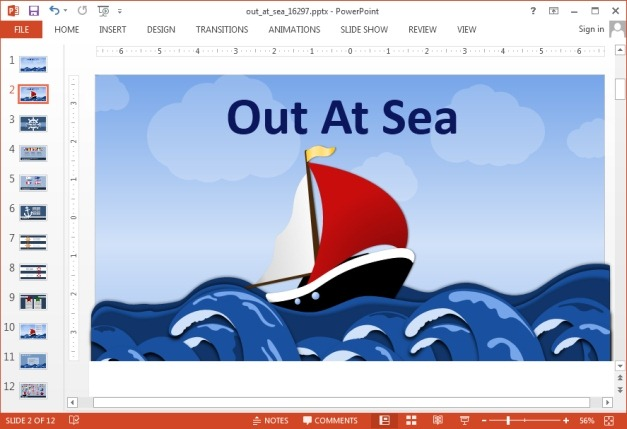 Animated out at sea template for PowerPoint