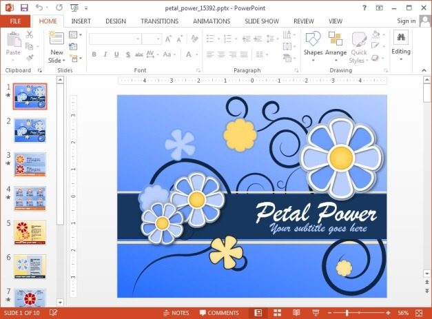 Animated petal themed PowerPoint template