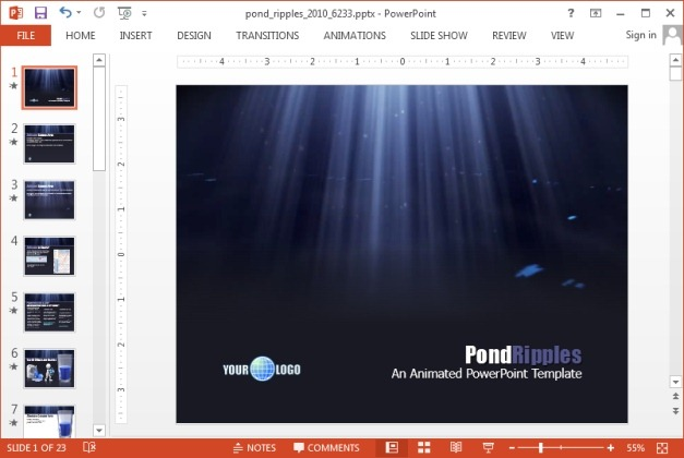 Animated pond ripples template for PowerPoint