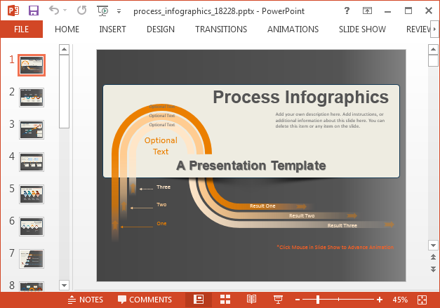 Animated process diagram template for PowerPoint