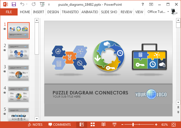 Animated puzzle PowerPoint template