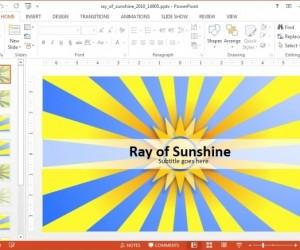 Animated Ray Of Sunshine Template For PowerPoint