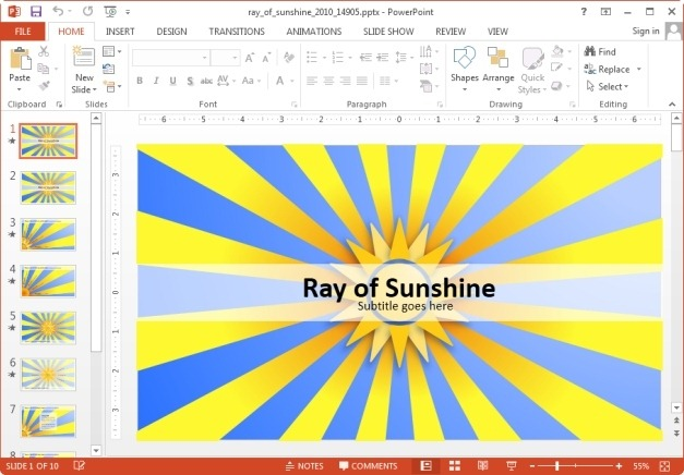 Animated ray of sunshine PowerPoint template