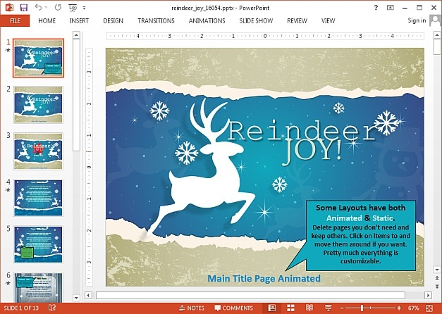 Animated reindeer PowerPoint template for Christmas