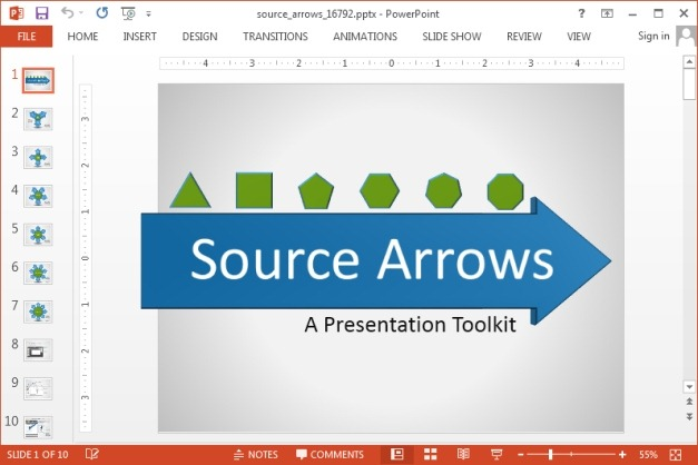Animated source arrows template for PowerPoint