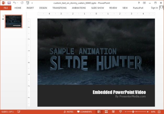 Animated stormy waters template for PowerPoint