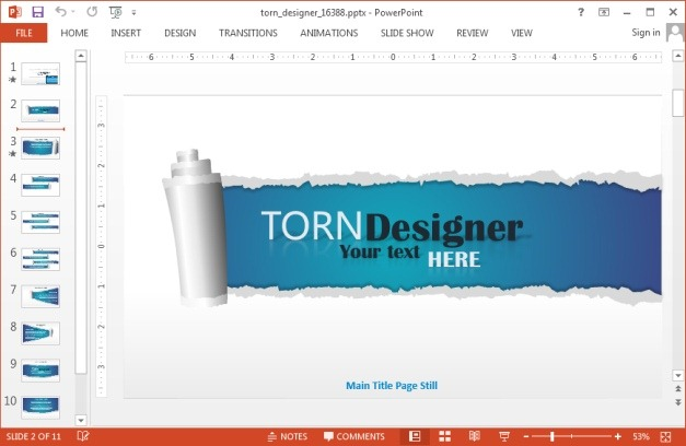 Animated torn designer template for PowerPoint
