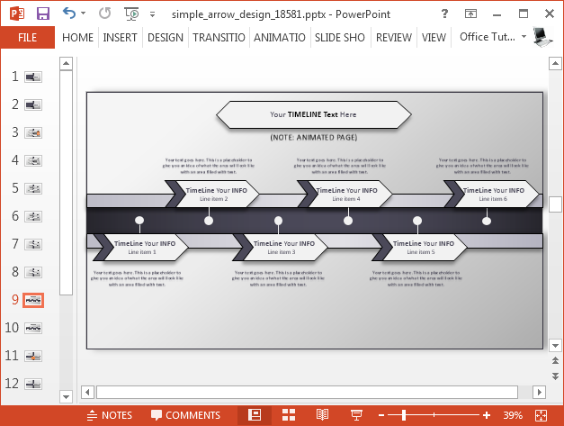 Arrow timeline slide design