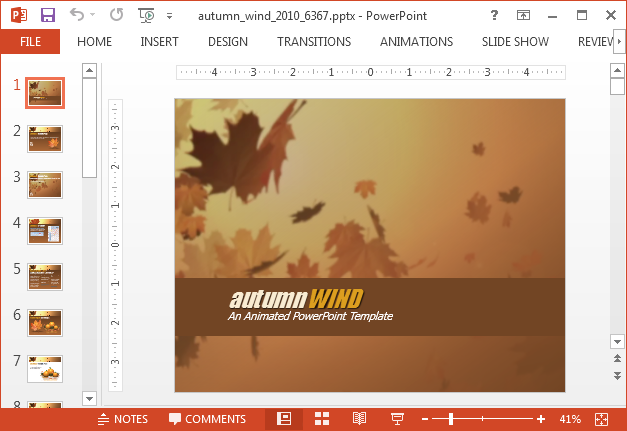 Autumn wind template for PowerPoint