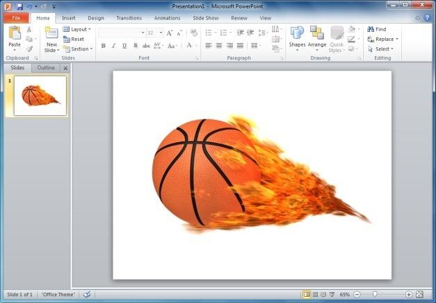 Basketball Flaming Clipart