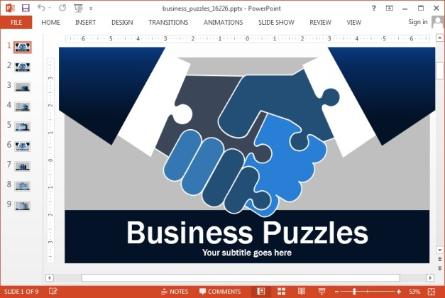 Business jigsaw puzzle template for PowerPoint