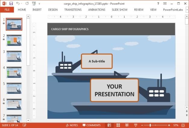 Cargo ship slide for PowerPoint