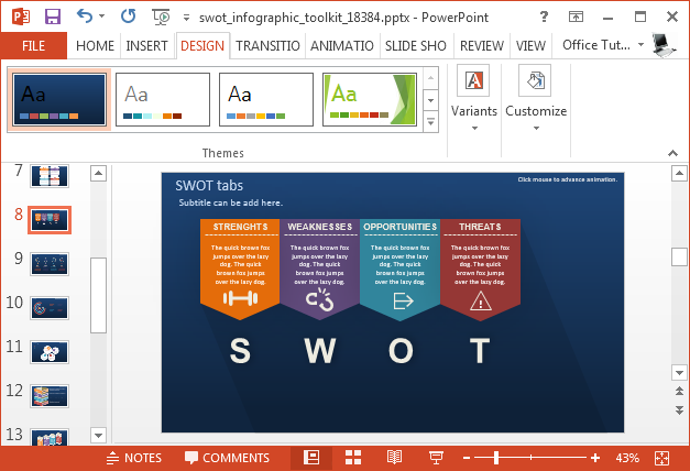 Change theme colors for your SWOT analysis