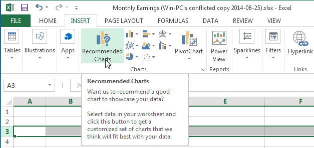 Chart reccomendations in Excel
