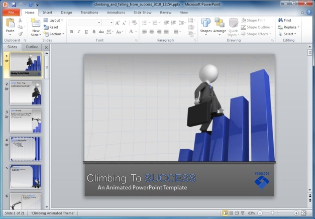 Climbing And Falling From Success Template For PowerPoint