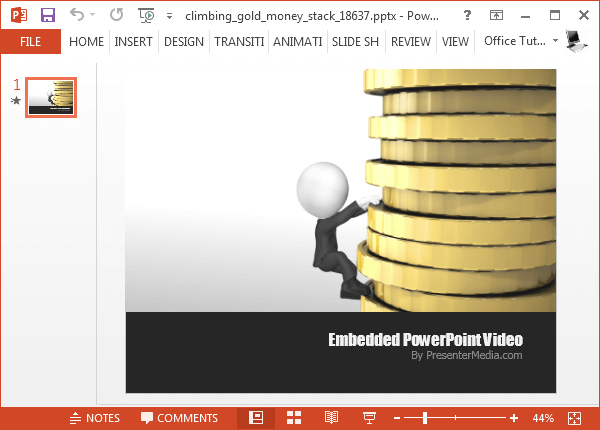 Climbing gold money stack template for PowerPoint