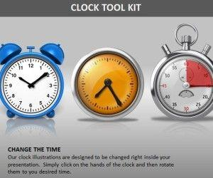 Editable Clock PowerPoint Template With Timepieces