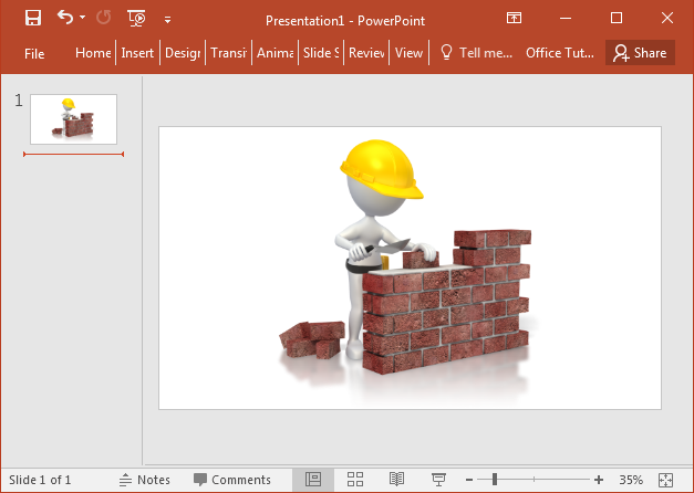 Construction worker building brick wall clipart