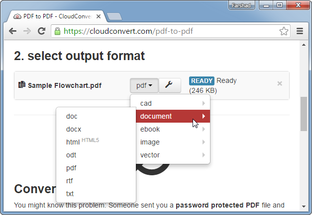 Convert PDF with CloudConvert