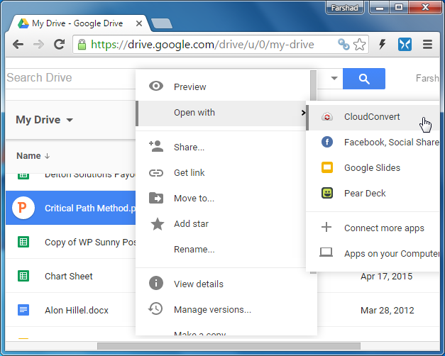 Convert PowerPoint file using Google Drive