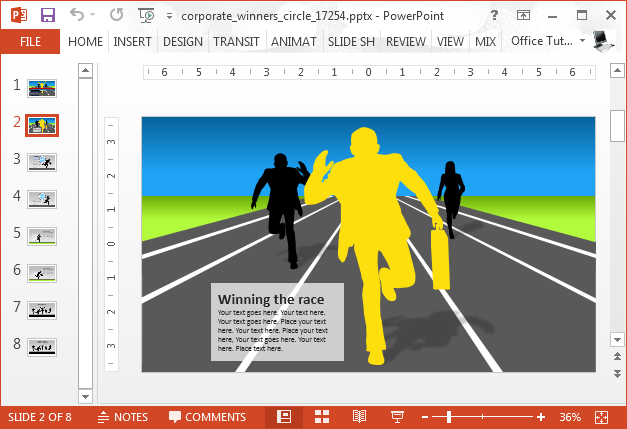 Corporate winners circle template for PowerPoint