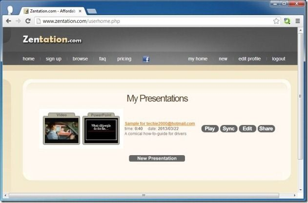 Create New Presentation