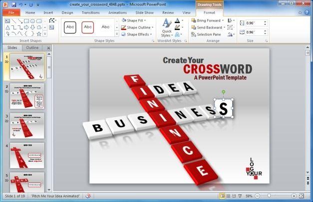 Create a crossword puzzle slide